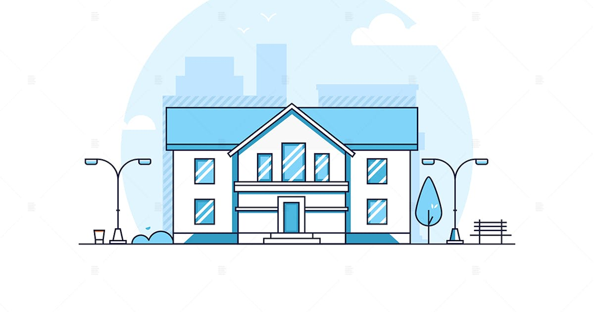 Download Apartment house - line design style illustration by BoykoPictures