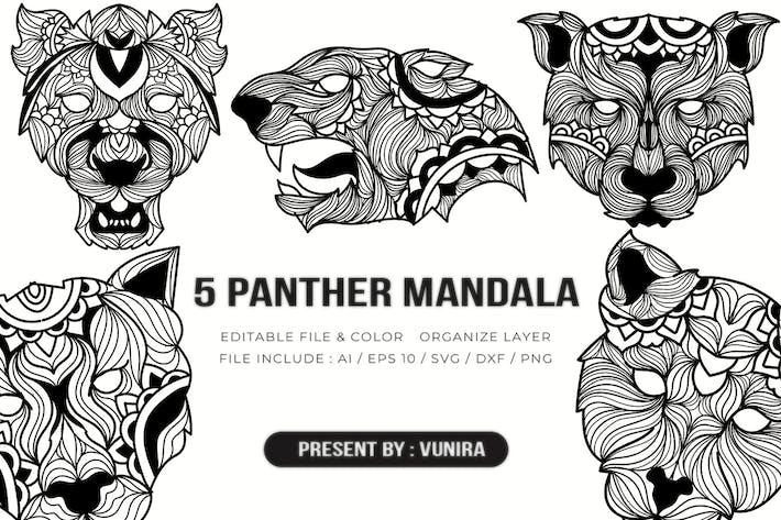 Thumbnail for 5 Panther Mandala | Design Illustration