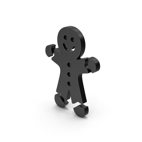 Черный символ пряничный человек
