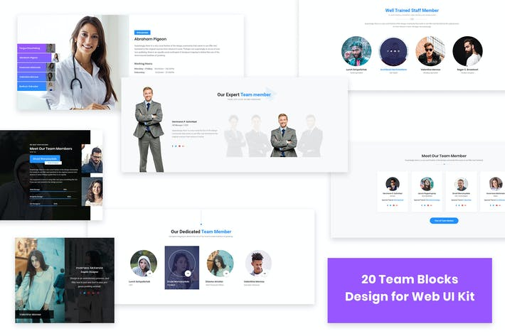 Thumbnail for 20 Team Blocks Design for Web-UI Kit