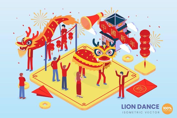 Thumbnail for Isometric Lion Dance Vector Concept Illustration