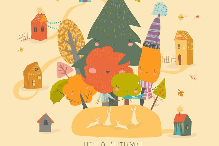 Thumbnail for Cartoon colorful autumn forest with little rabbits