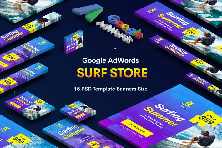 Thumbnail for Surf Board Store Banners Ad v.01