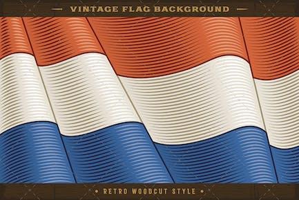 Vintage Flag Of Netherlands. Close-up Background