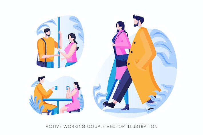 Thumbnail for Active Working Couple Vector Character Set