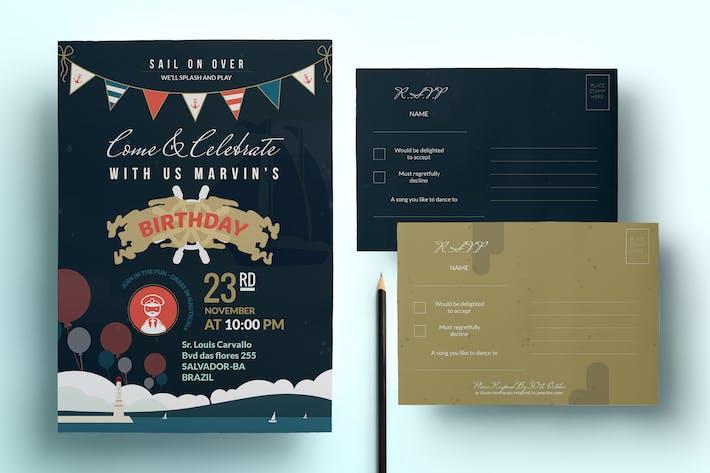 Thumbnail for Nautical Birthday Invitation & Postcard