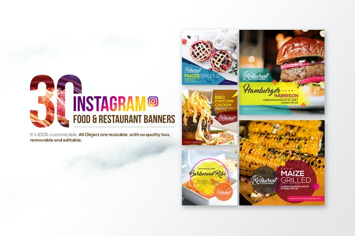 Thumbnail for 30 Instagram Food & Restaurant Banners