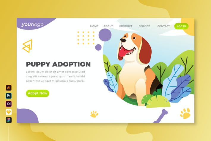 Thumbnail for Puppy Adoption - Vector Landing Page