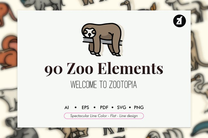 Thumbnail for 90 Zoo animal elements