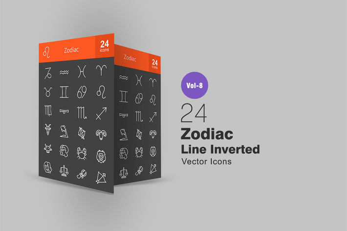 Thumbnail for 24 Zodiac Line Inverted Icons