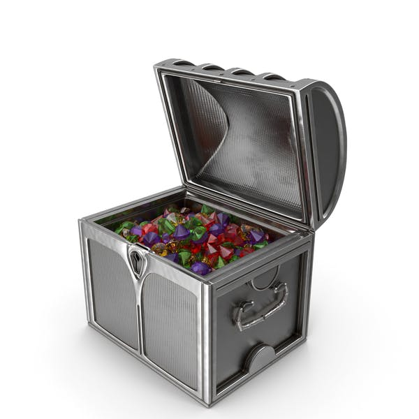 Small Silver Chest With Large Mixed Gems