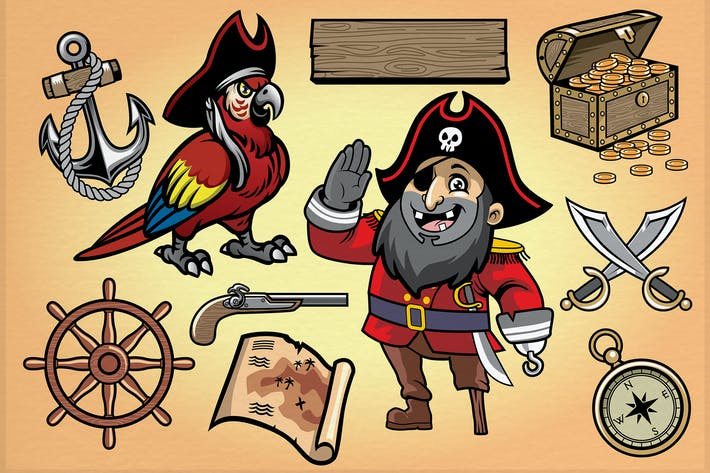 Thumbnail for set cartoon object of pirate