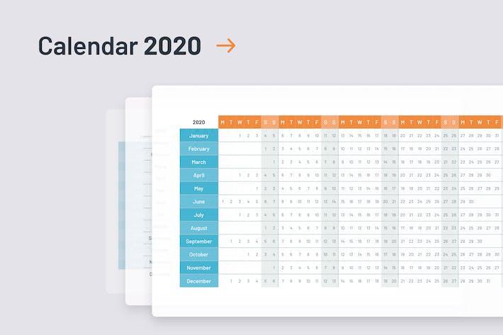 Thumbnail for 2020 Calendar template PowerPoint