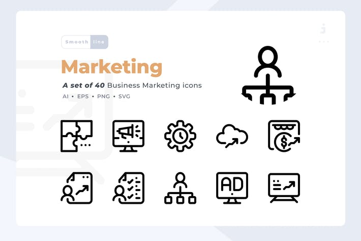Thumbnail for Smoothline - 40 Business Marketing icon set