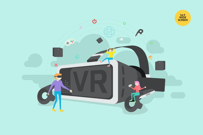 Cover Image For Virtual Reality Vector Concept Illustration