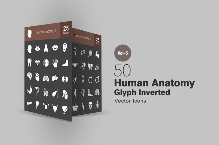 Thumbnail for 50 Human Anatomy Glyph Inverted Icons