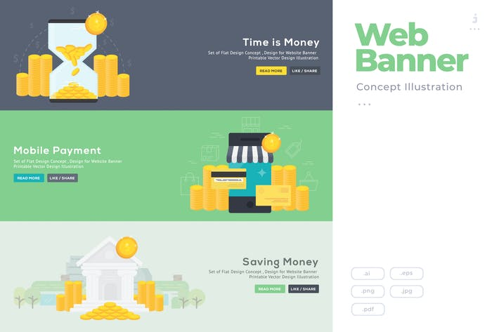 Thumbnail for Flat Design Banner Concept for Banking