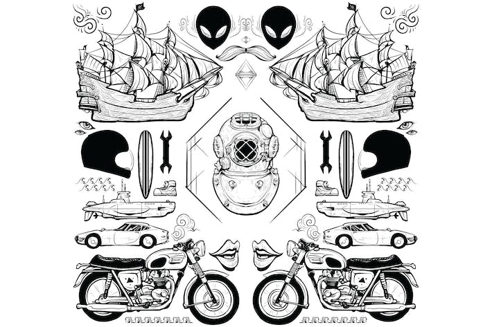 Thumbnail for Hand Drawn Transport Vector Illustration Elements
