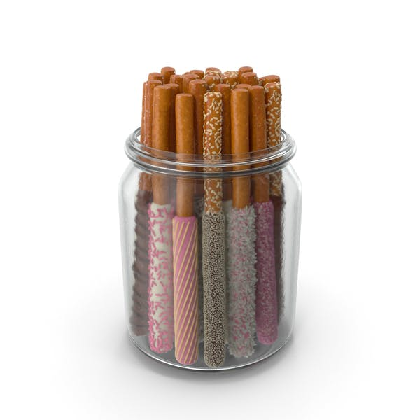 Jar with Assorted Dipped Pretzel Rods