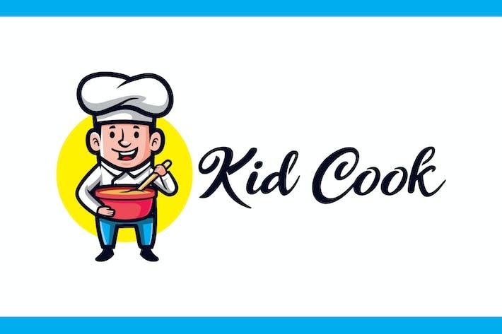 Thumbnail for Cartoon Little Kid Cook Mascot Logo