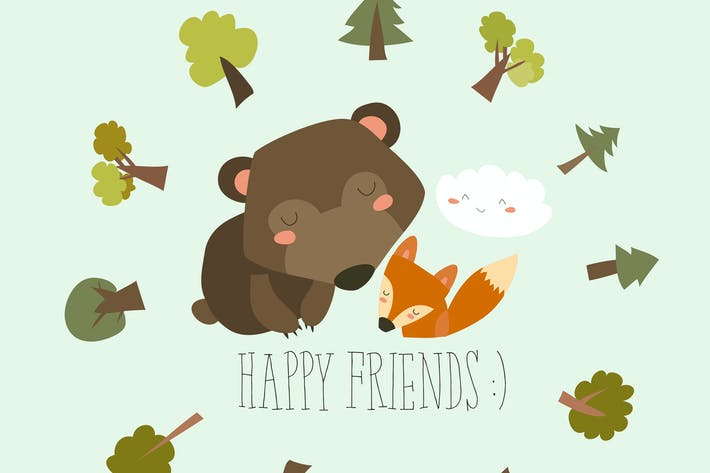 Thumbnail for Happy friends in the forest. Bear,fox