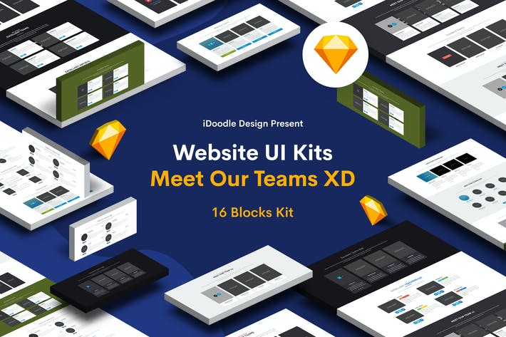 Thumbnail for Website UI Kits Meet Our Teams Sketch Template