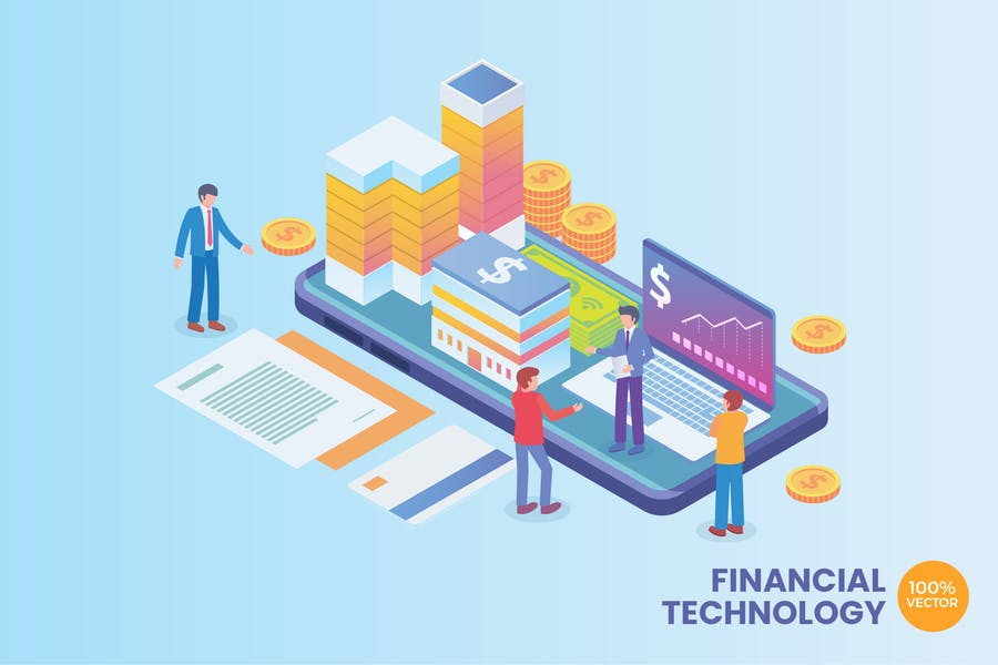 Isometric Financial Technology Vector Concept