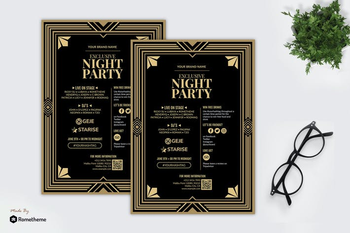Thumbnail for Night Party - Gatsby Theme Party Flyer RB