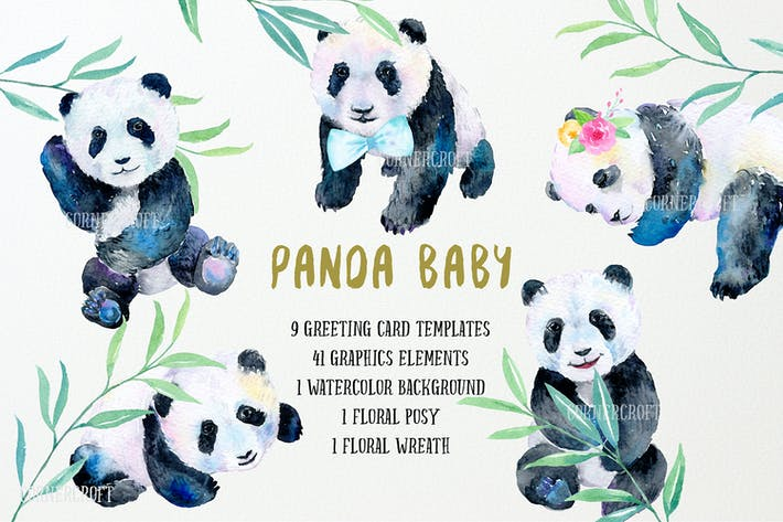 Thumbnail for Watercolor Design Kit Panda Baby