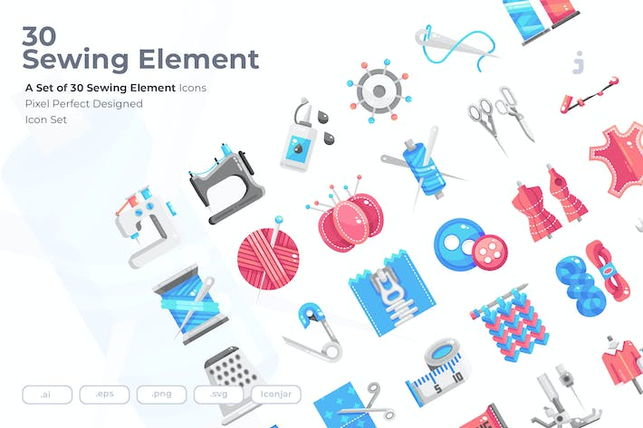 Thumbnail for 30 Sewing Element Icons - Flat