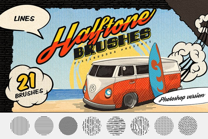 Thumbnail for Halftone Lines: Vintage Photoshop Brushes