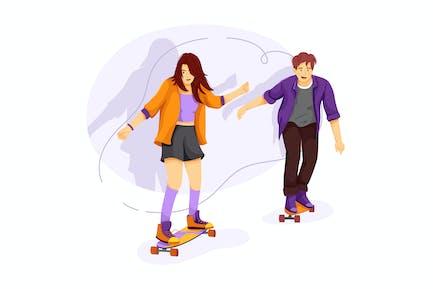 School girl and boy skate boarding at street