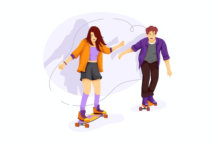 Schulmädchen und Junge skate Boarding auf der Straße
