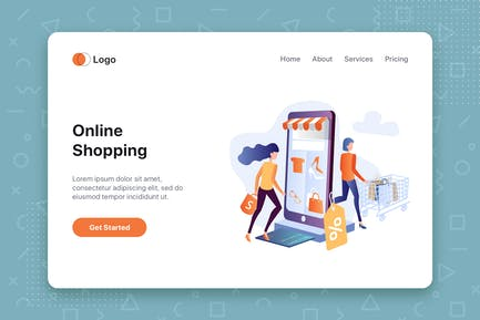 Online Shopping flat concept for Landing page