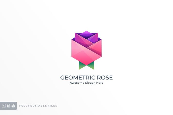 Geometric Rose Color Logo Template