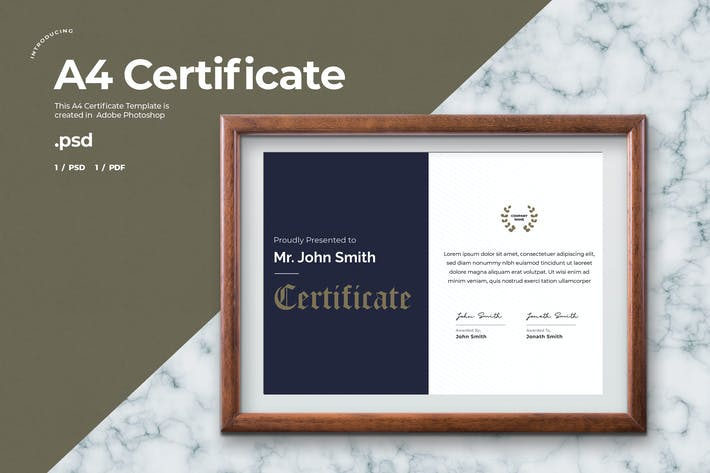 Thumbnail for Certificate Template - A4