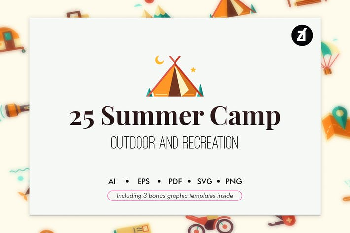 Thumbnail for 25 Summer Camp icons with bonus graphic templates