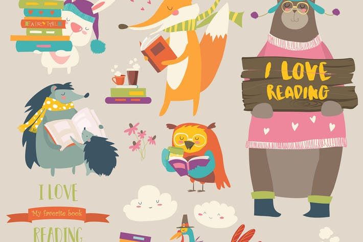 Thumbnail for Set of cartoon animals reading books. Vector