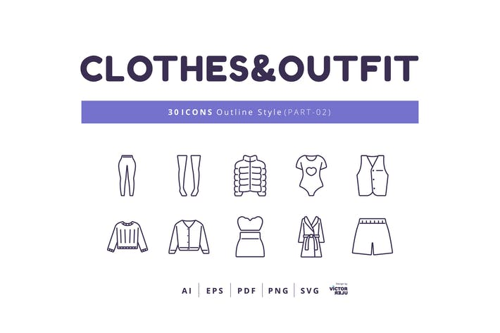 Thumbnail for 30 Icons Clothes&Outfit Part-02 Outline Style