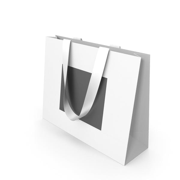 White and Black Paper Bag with White Handles