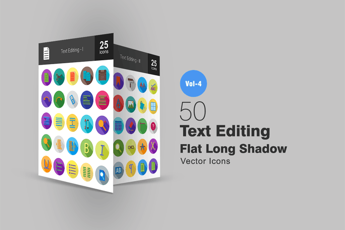 Thumbnail for 50 Text Editing Flat Shadowed Icons