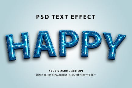 Realistic blue balloon foils text effect