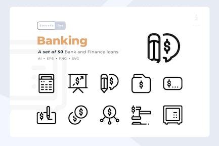 Smoothline - 50 Bank- und Finanz-Symbolsatz