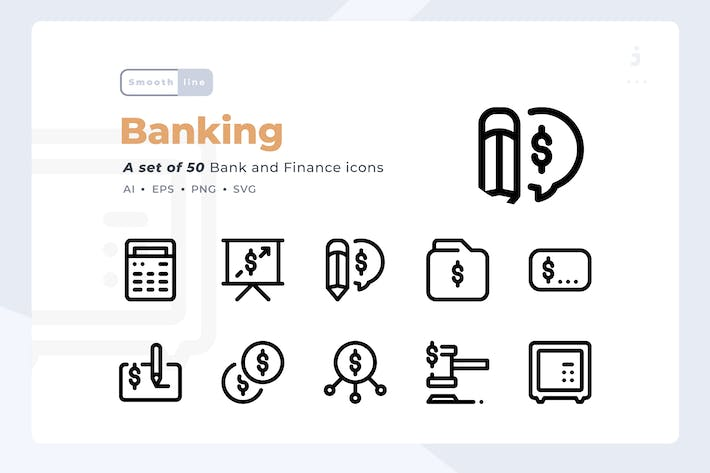 Thumbnail for Smoothline - 50 Bank and Finance icon set
