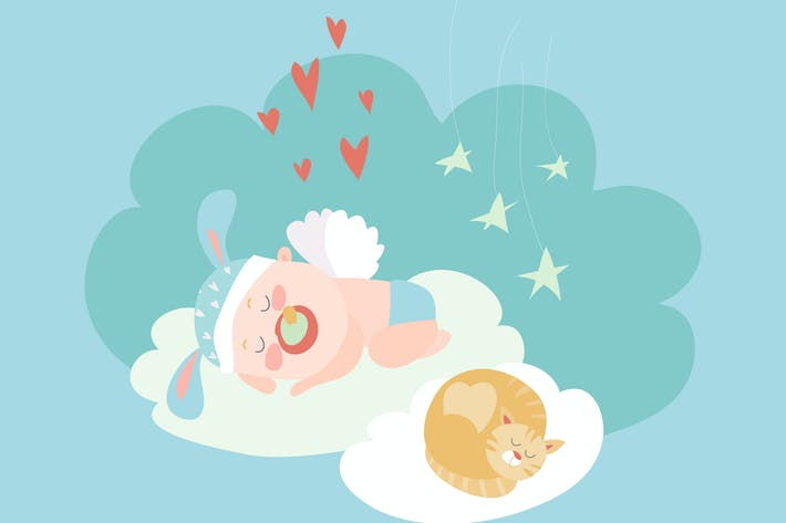 Thumbnail for Cute baby angel sleeping with cat. Vector