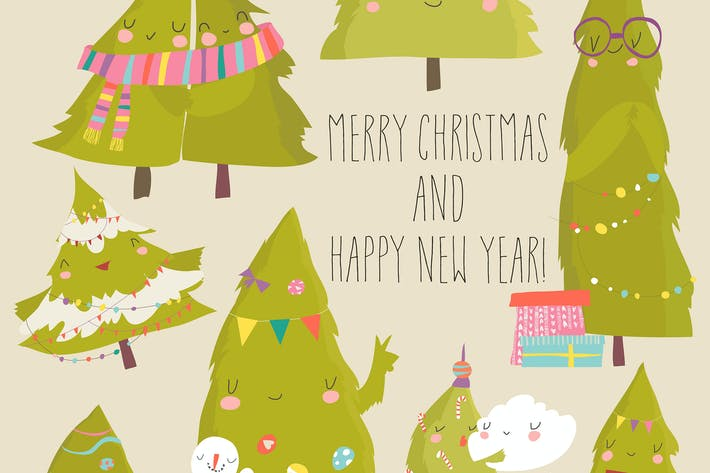 Thumbnail for Set of cartoon Christmas trees. Vector illustratio