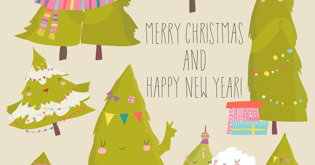 Download Set of cartoon Christmas trees. Vector illustratio by masastarus