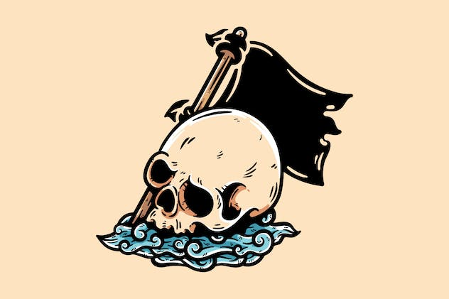 Skull With Cloud And Flag