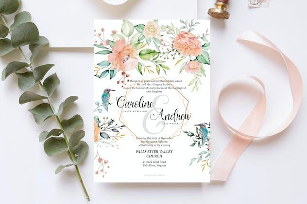 Birds & Roses Wedding Invitation Card