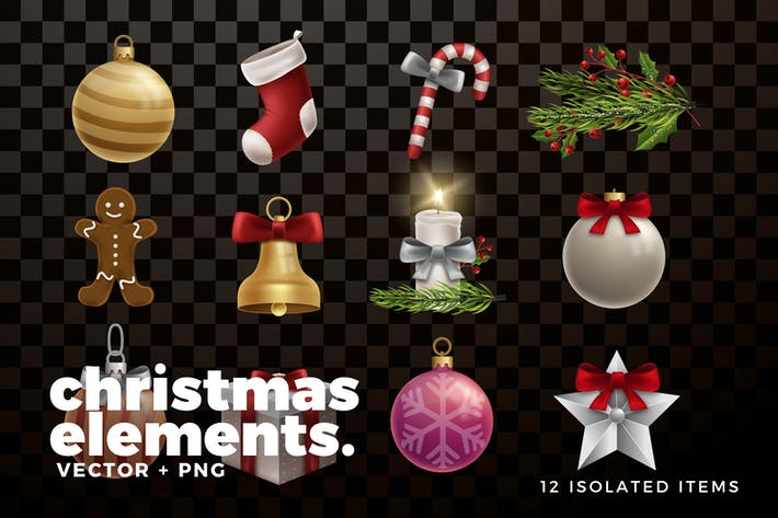 Thumbnail for Christmas Elements and Decorations Collection